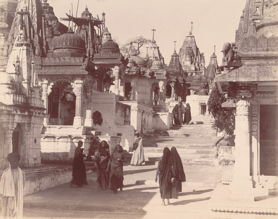 View along street lined with temples in the Vimalavasi Tuk, Satrunjaya 10032086